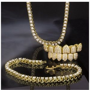 Other - Iced Out Micropave grill and bracelet, necklace